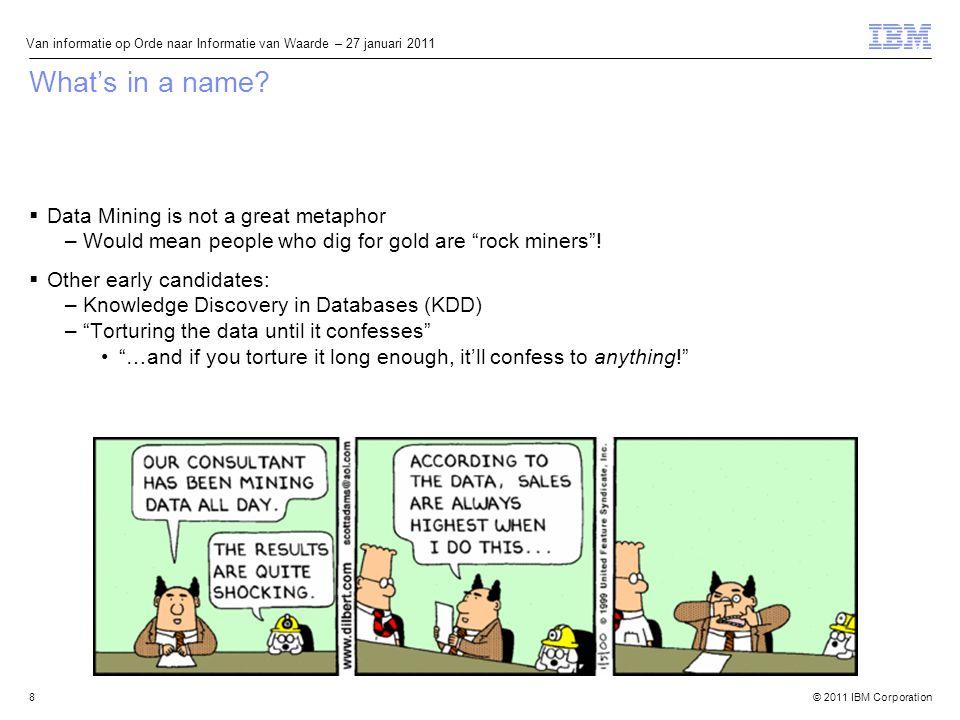 © 2011 IBM Corporation Van informatie op Orde naar Informatie van Waarde – 27 januari 2011 What's in a name.