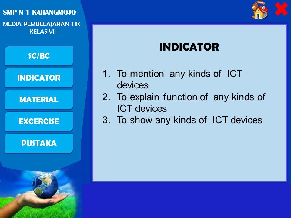 Free Powerpoint Templates Page 4 PUSTAKA SC/BC INDICATOR MATERIAL EXCERCISE SMP N 1 KARANGMOJO MEDIA PEMBELAJARAN TIK KELAS VII TIK Teknologi InformasiTeknologi Komunikasi = ilmu yang mempelajari teknik aplikasi komputer untuk mendukung operasi dari suatu organisasi : instalasi, perawatan komputer, perangkat lunak dan data = ilmu yang mempelajari aplikasi berbagai teknologi yang digunakan di dalam telekomunikasi Pengantar