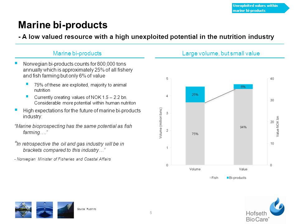 HBC has developed a new advanced production process 6 - Developed through years of testing and documentation Hydrolysis process Virgin marine oil Calcium & partly hydrolyzed protein 17% Dry marine calcium Dry Partly hydrolysed protein (PHP) 11% 4% External dryer Dry Soluble protein hydrolysate (SPH) 8% Enzymes 100% Concentration Separation Internal dryer HBC's proprietary enzymatic hydrolysis process  Proprietary hydrolysis process that uses enzymes that gradually digest the protein in the raw material, breaking down the long chain proteins into shorter peptides chains, peptones, and if wanted, into the constituent amino acids  Process avoids oxidation  Maintains quality in raw material and extracts 4 product fractions  Raw material and qualtiy;  Fresh high quality (food grade) raw material supplied from trusted sources  Quality control Careful management of the hydrolyzing time, supply of enzymes, product fractions, temperature and moisture New advanced process technology
