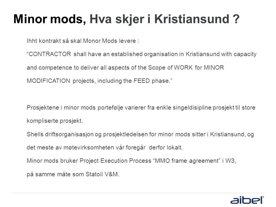 """Minor mods, Hva skjer i Kristiansund ? Ihht kontrakt så skal Monor Mods levere : """"CONTRACTOR shall have an established organisation in Kristiansund wi"""