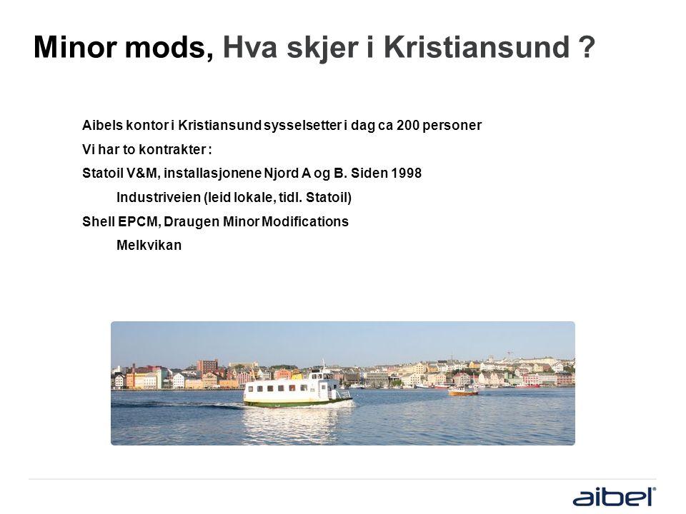 Minor mods, Hva skjer i Kristiansund ? Aibels kontor i Kristiansund sysselsetter i dag ca 200 personer Vi har to kontrakter : Statoil V&M, installasjo