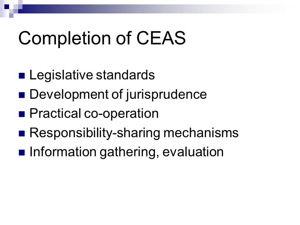Completion of CEAS  Legislative standards  Development of jurisprudence  Practical co-operation  Responsibility-sharing mechanisms  Information gathering, evaluation