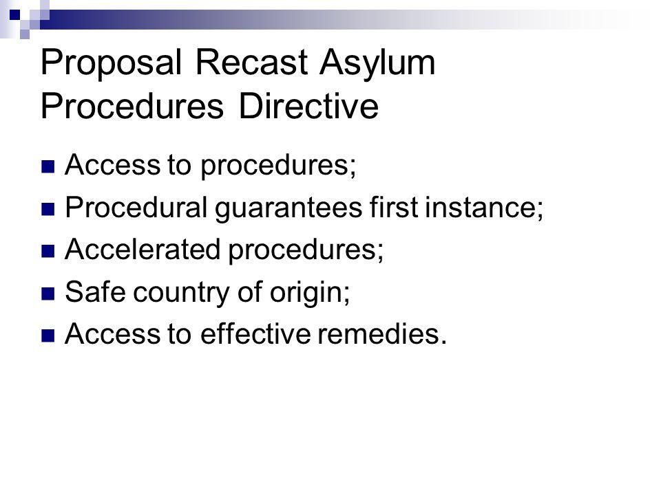 Proposal Recast Asylum Procedures Directive  Access to procedures;  Procedural guarantees first instance;  Accelerated procedures;  Safe country of origin;  Access to effective remedies.