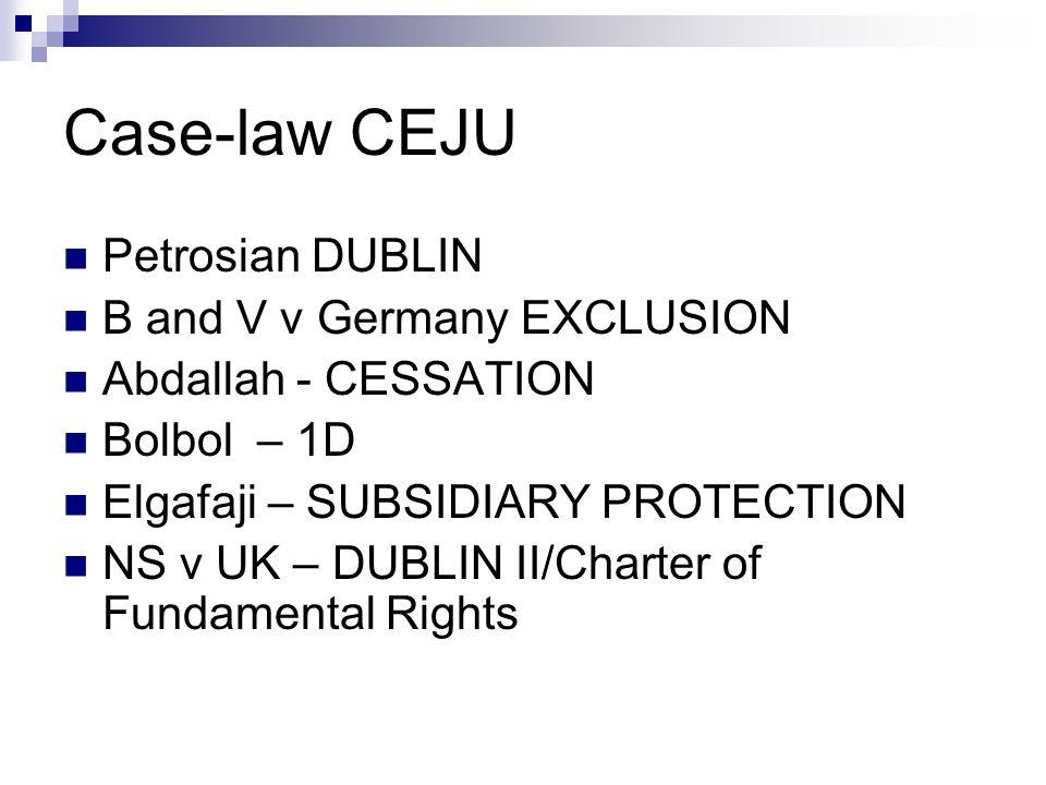 Case-law CEJU  Petrosian DUBLIN  B and V v Germany EXCLUSION  Abdallah - CESSATION  Bolbol – 1D  Elgafaji – SUBSIDIARY PROTECTION  NS v UK – DUBLIN II/Charter of Fundamental Rights