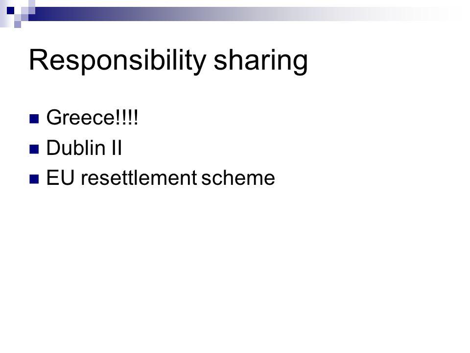 Responsibility sharing  Greece!!!!  Dublin II  EU resettlement scheme