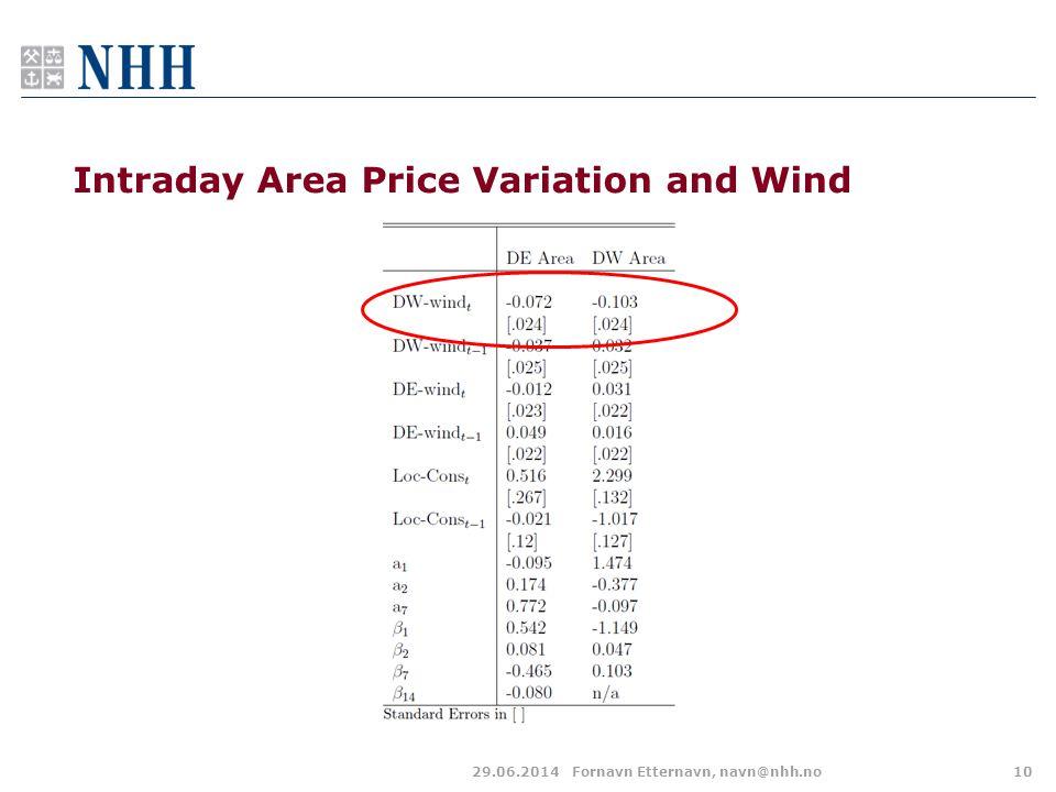Intraday Area Price Variation and Wind 29.06.2014Fornavn Etternavn, navn@nhh.no10
