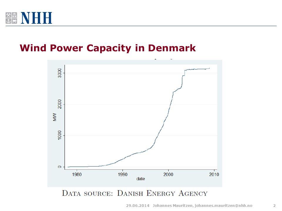 29.06.2014Johannes Mauritzen, johannes.mauritzen@nhh.no2 Wind Power Capacity in Denmark