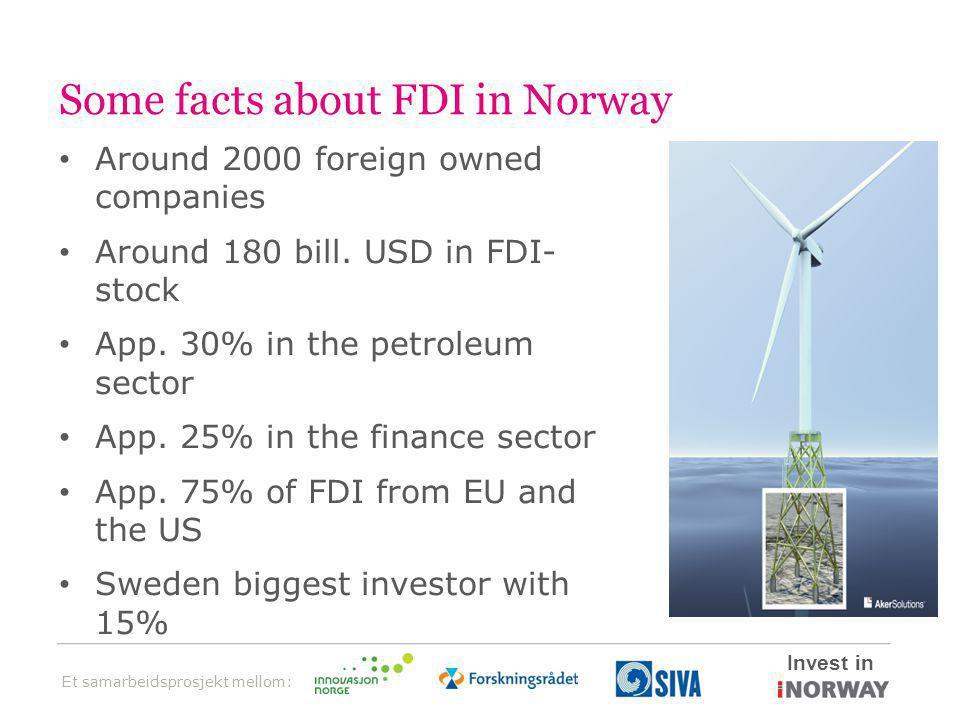 Et samarbeidsprosjekt mellom: Invest in Some facts about FDI in Norway • Around 2000 foreign owned companies • Around 180 bill.