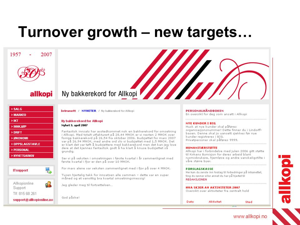www.allkopi.no Turnover growth – new targets…