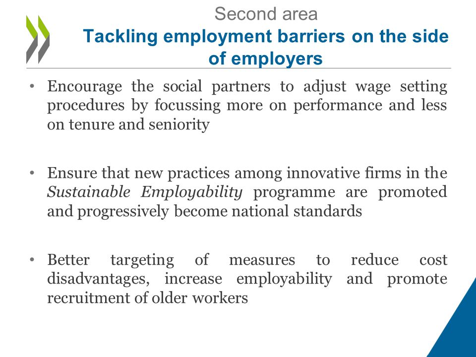 • Encourage the social partners to adjust wage setting procedures by focussing more on performance and less on tenure and seniority • Ensure that new practices among innovative firms in the Sustainable Employability programme are promoted and progressively become national standards • Better targeting of measures to reduce cost disadvantages, increase employability and promote recruitment of older workers Second area Tackling employment barriers on the side of employers