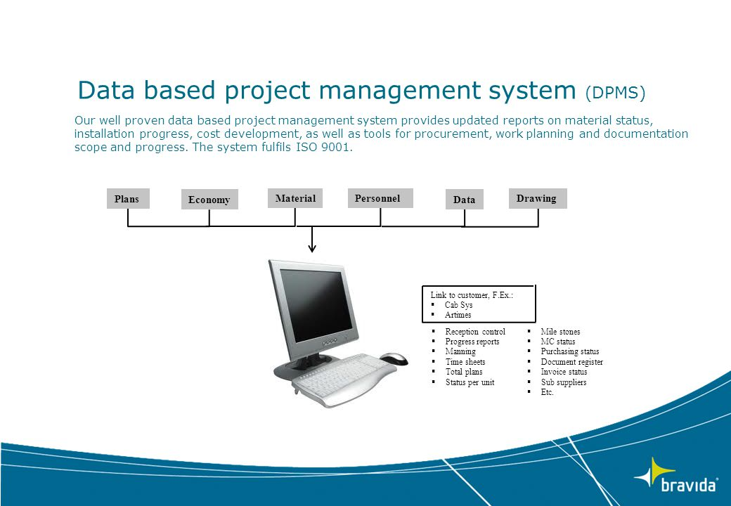 Data based project management system (DPMS) Our well proven data based project management system provides updated reports on material status, installa