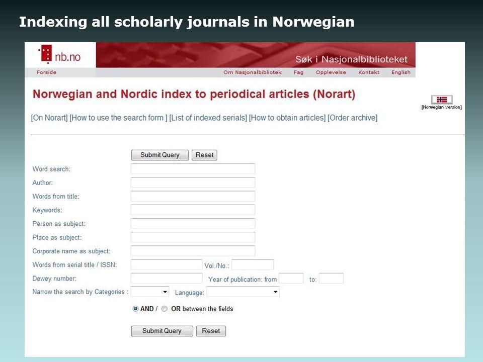 Indexing all scholarly journals in Norwegian