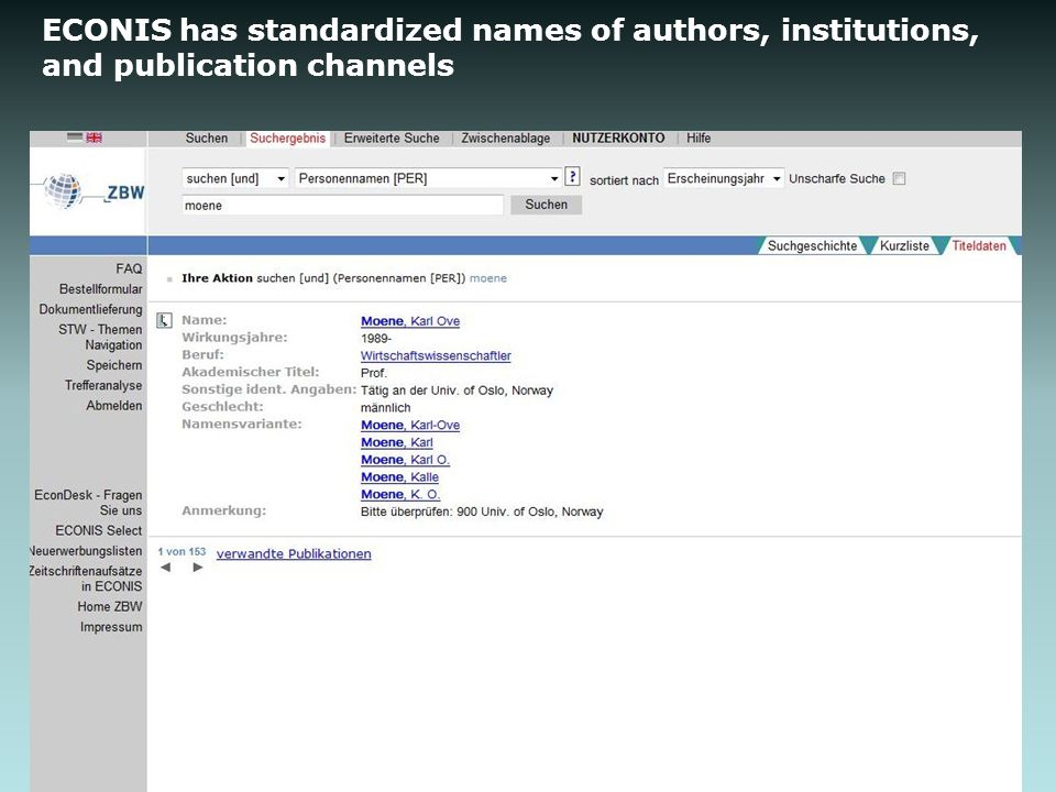 ECONIS has standardized names of authors, institutions, and publication channels