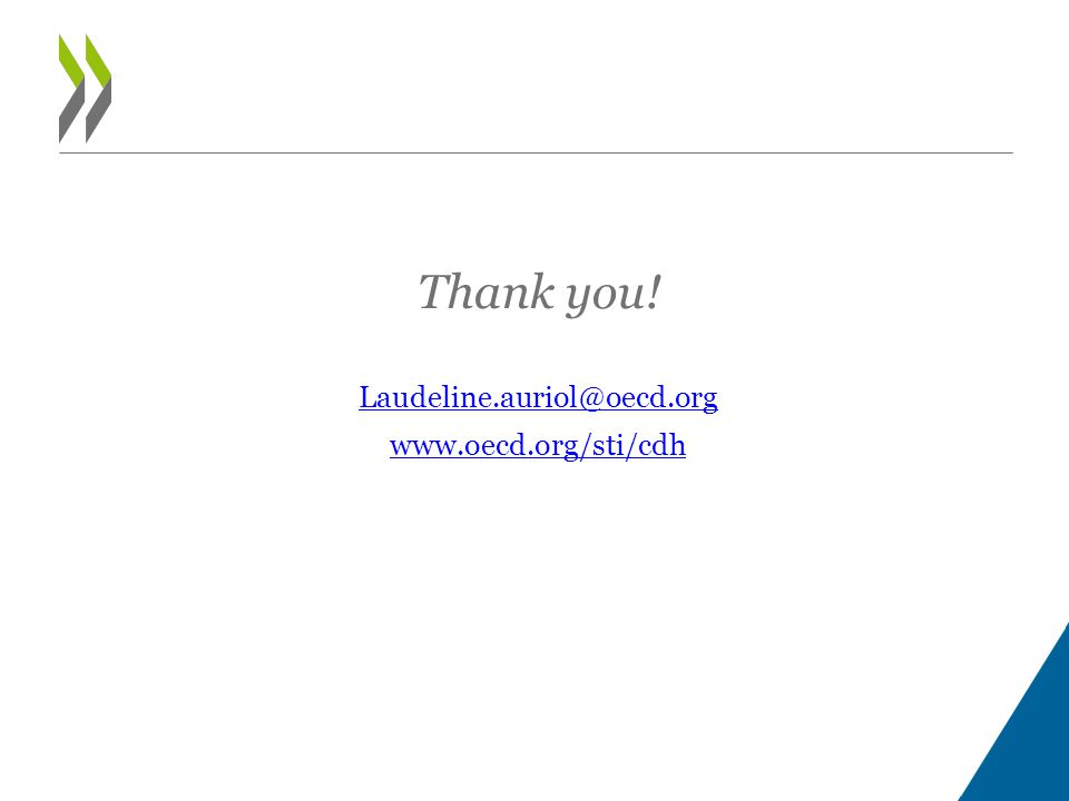 Thank you! Laudeline.auriol@oecd.org www.oecd.org/sti/cdh
