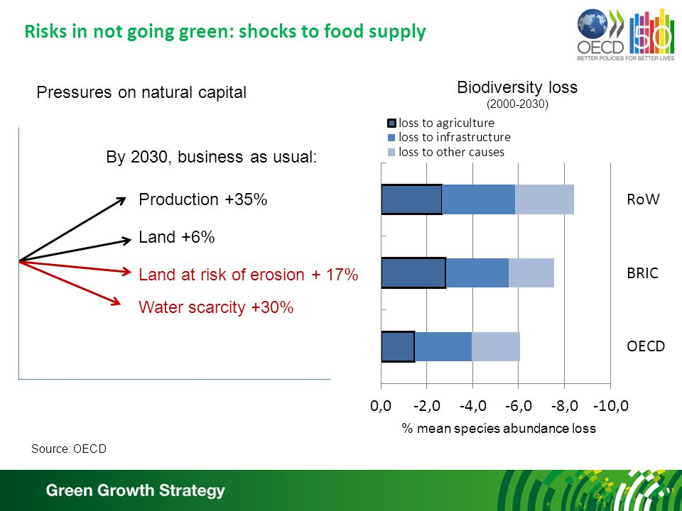 Risks in not going green: shocks to food supply Production +35% Land +6% Land at risk of erosion + 17% By 2030, business as usual: Biodiversity loss (2000-2030) Pressures on natural capital Water scarcity +30% % mean species abundance loss Source: OECD