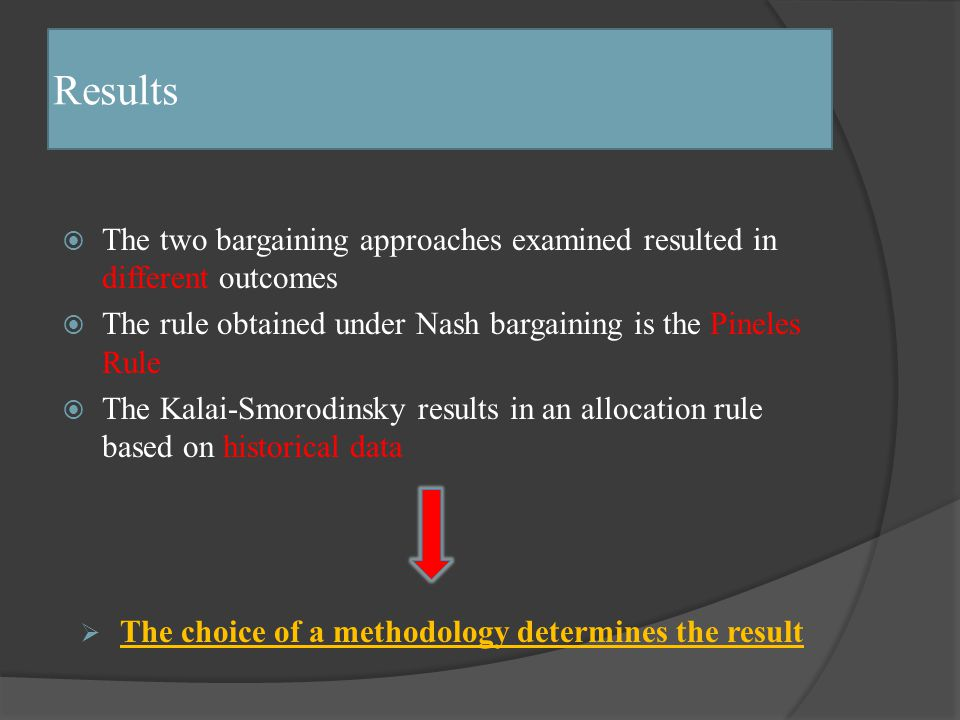 Results  The two bargaining approaches examined resulted in different outcomes  The rule obtained under Nash bargaining is the Pineles Rule  The Kalai-Smorodinsky results in an allocation rule based on historical data  The choice of a methodology determines the result