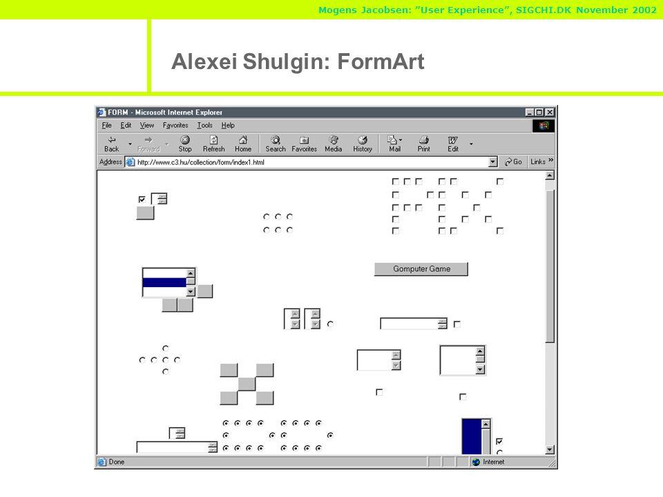 Mogens Jacobsen: User Experience , SIGCHI.DK November 2002 Alexei Shulgin: FormArt