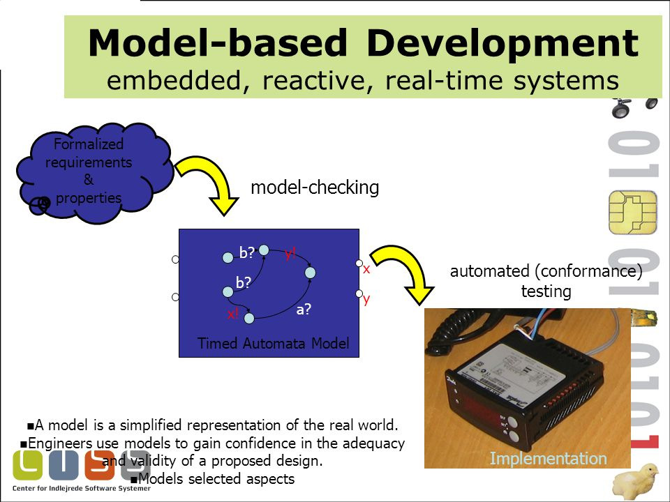 Model-based Development embedded, reactive, real-time systems Formalized requirements & properties a b x y a.