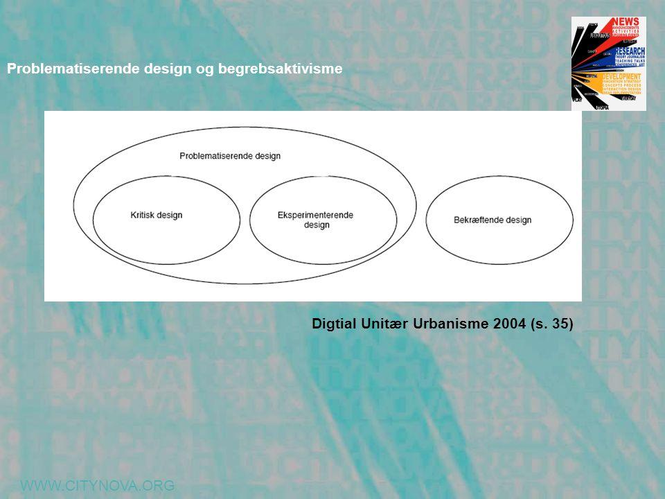 WWW.CITYNOVA.ORG Problematiserende design og begrebsaktivisme Digtial Unitær Urbanisme 2004 (s. 35)