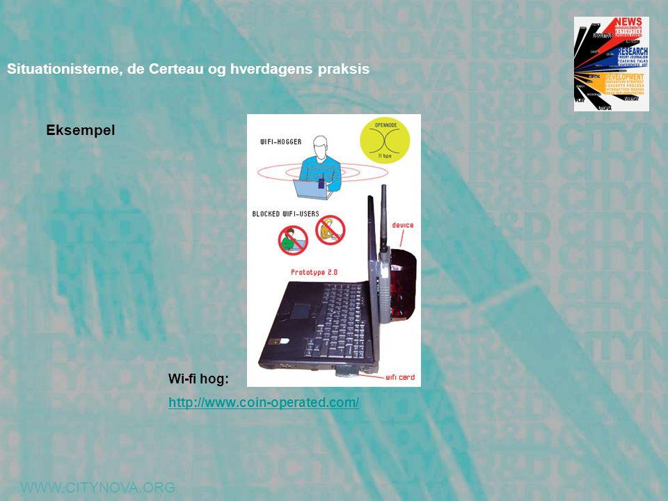 WWW.CITYNOVA.ORG Situationisterne, de Certeau og hverdagens praksis Wi-fi hog: http://www.coin-operated.com/ Eksempel