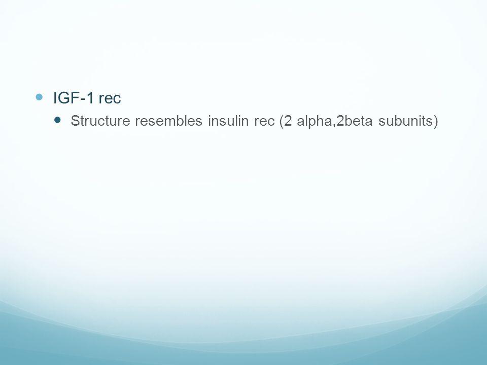  IGF-1 rec  Structure resembles insulin rec (2 alpha,2beta subunits)