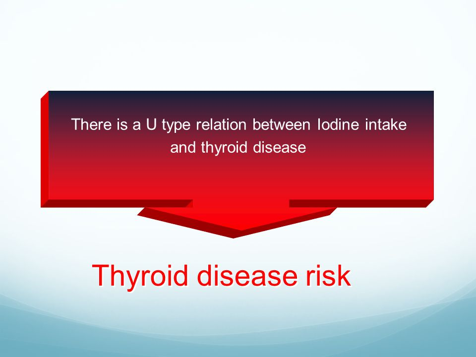 Thyroid disease risk  There is a U type relation between Iodine intake and thyroid disease
