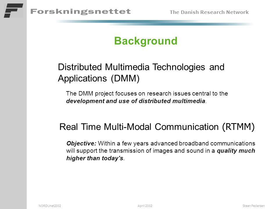 The Danish Research Network NORDUnet2002 April 2002 Steen Pedersen DTU-RTMM project overview