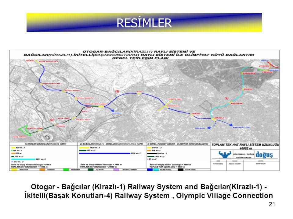 21 RESİMLER Otogar - Bağcılar (Kirazlı-1) Railway System and Bağcılar(Kirazlı-1) - İkitelli(Başak Konutları-4) Railway System, Olympic Village Connection