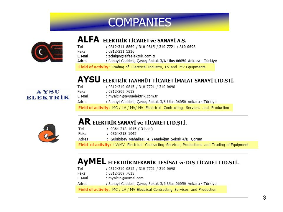 4 One of our companies, ALFA ELECTRICAL Inc.,was founded by Ahmet Yücel Onat,Electrical Engineer, in 1984.