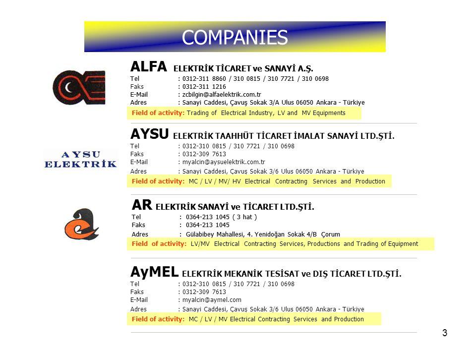 3 Faaliyet Konusu : Elektrik Sanayi, AG ve OG Malzemeleri Ticareti Faaliyet Konusu : ZA / AG / OG / YG Elektrik Taahhüt Hizmetleri ve İmalatı Faaliyet Konusu : Elektrik AG/OG Taahhüt Hizmetleri, İmalatı ve Malzeme Ticareti ALFA ELEKTRİK TİCARET ve SANAYİ A.Ş.
