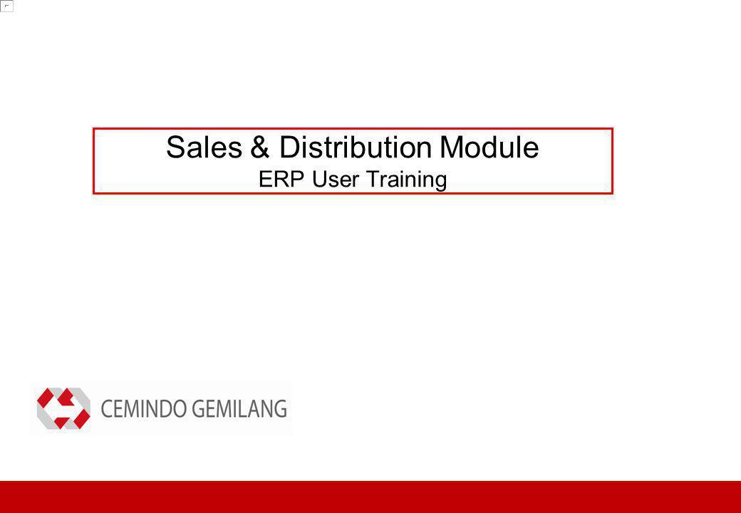 Sales & Distribution Module ERP User Training