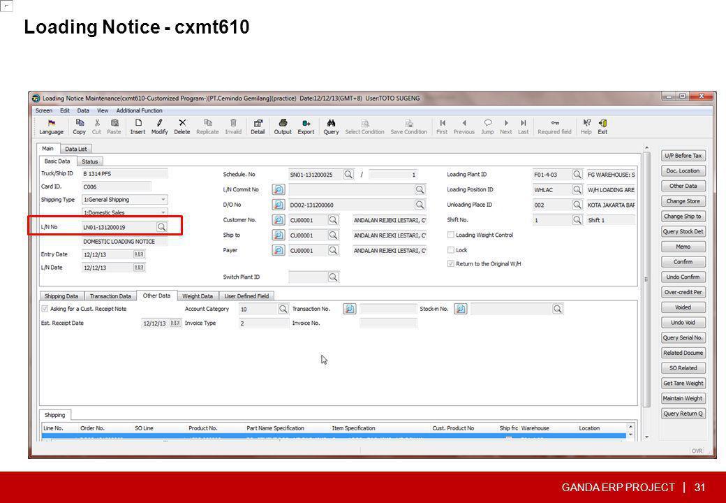 GANDA ERP PROJECT | Loading Notice - cxmt610 31