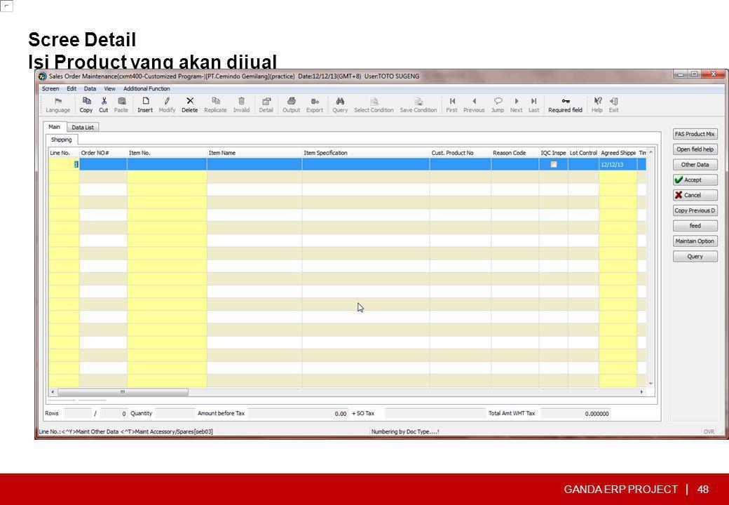 GANDA ERP PROJECT | Scree Detail Isi Product yang akan dijual 48