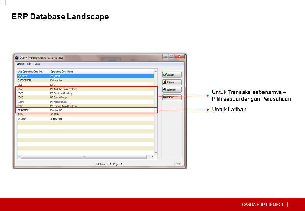 GANDA ERP PROJECT | ERP Database Landscape Untuk Latihan Untuk Transaksi sebenarnya – Pilih sesuai dengan Perusahaan