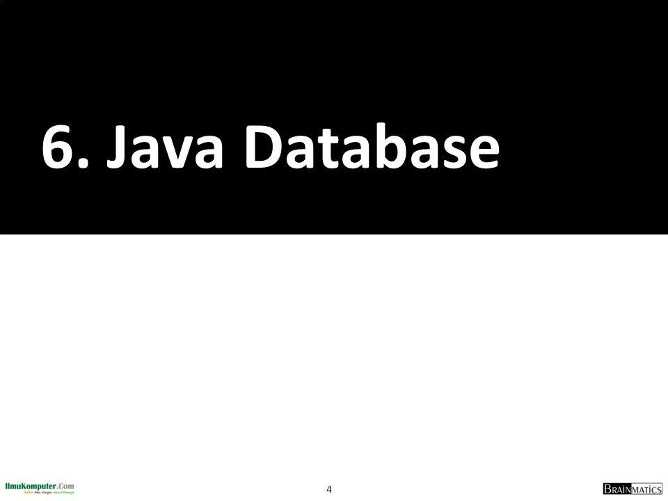 5 Java Database 1.Pengantar Database 2.Pengantar SQL 3.Koneksi Aplikasi Java ke Database 4.Studi Kasus Aplikasi Java Database
