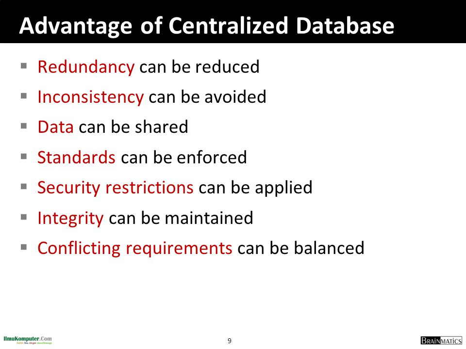 10 Disadvantage of Database Systems  Database is more vulnerable to destruction thru: • machine malfunction • personal error • Deliberate human tampering  Cost: the cost of required hardware, DB development, and DB maintenance is high  Complexity: Due to its complexity, the user should understand it well enough to use it efficiently and effectively