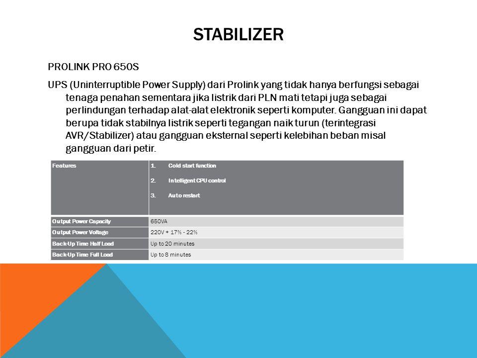 STABILIZER PROLINK PRO 650S UPS (Uninterruptible Power Supply) dari Prolink yang tidak hanya berfungsi sebagai tenaga penahan sementara jika listrik dari PLN mati tetapi juga sebagai perlindungan terhadap alat-alat elektronik seperti komputer.
