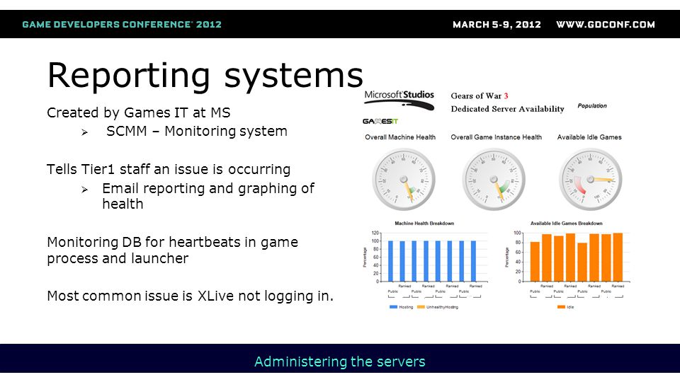 Reporting systems Created by Games IT at MS  SCMM – Monitoring system Tells Tier1 staff an issue is occurring  Email reporting and graphing of health Monitoring DB for heartbeats in game process and launcher Most common issue is XLive not logging in.