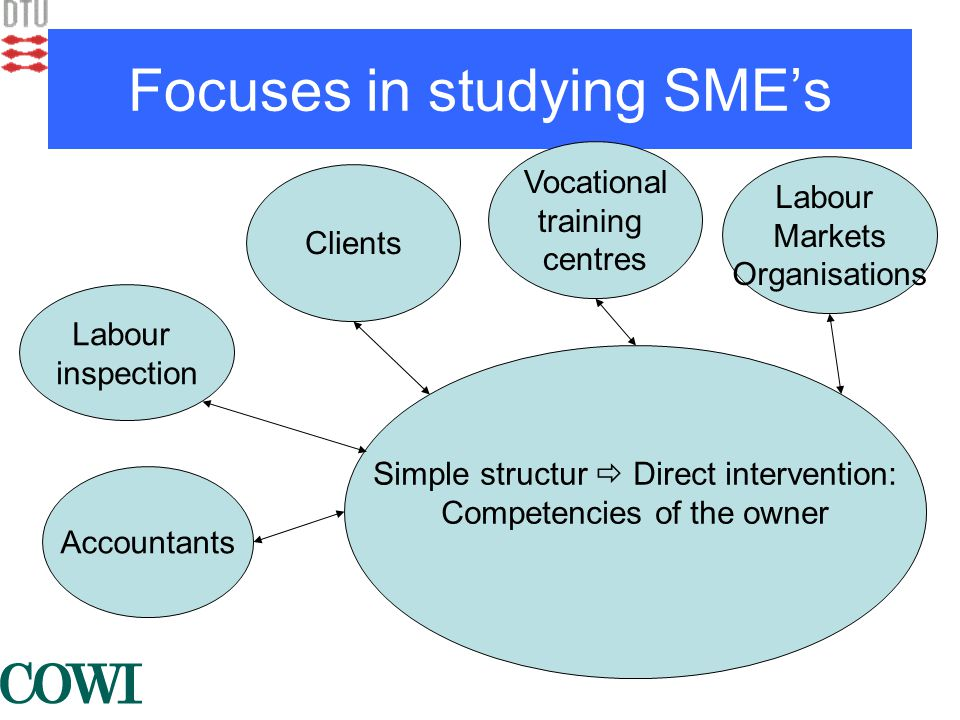 Focuses in studying SME's Simple structur  Direct intervention: Competencies of the owner Accountants Labour inspection Clients Labour Markets Organisations Vocational training centres