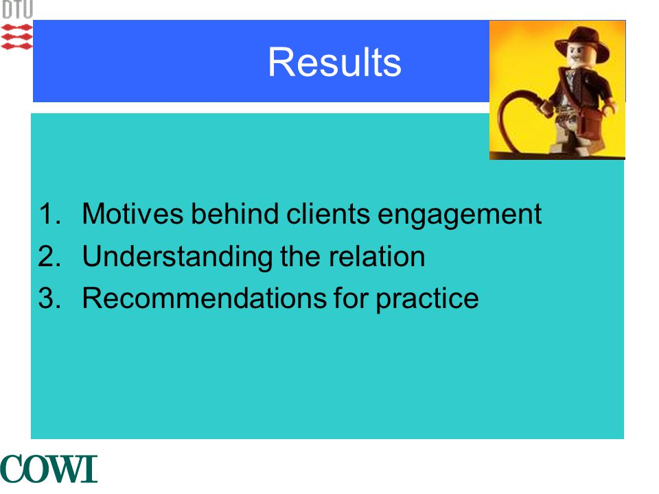 Results 1.Motives behind clients engagement 2.Understanding the relation 3.Recommendations for practice