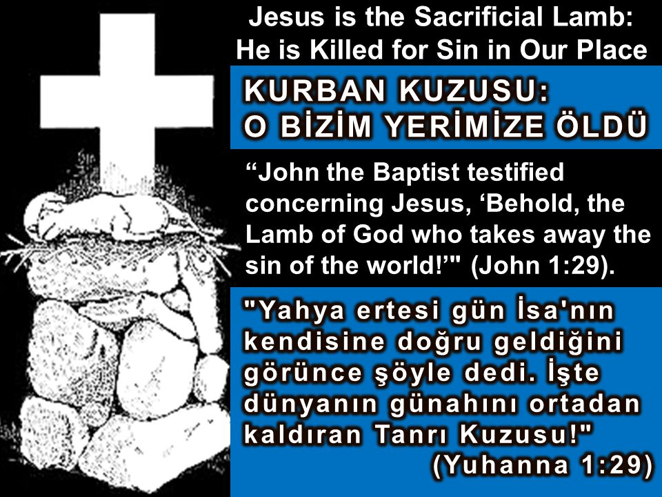 Jesus is the Sacrificial Lamb: He is Killed for Sin in Our Place John the Baptist testified concerning Jesus, 'Behold, the Lamb of God who takes away the sin of the world!' (John 1:29).