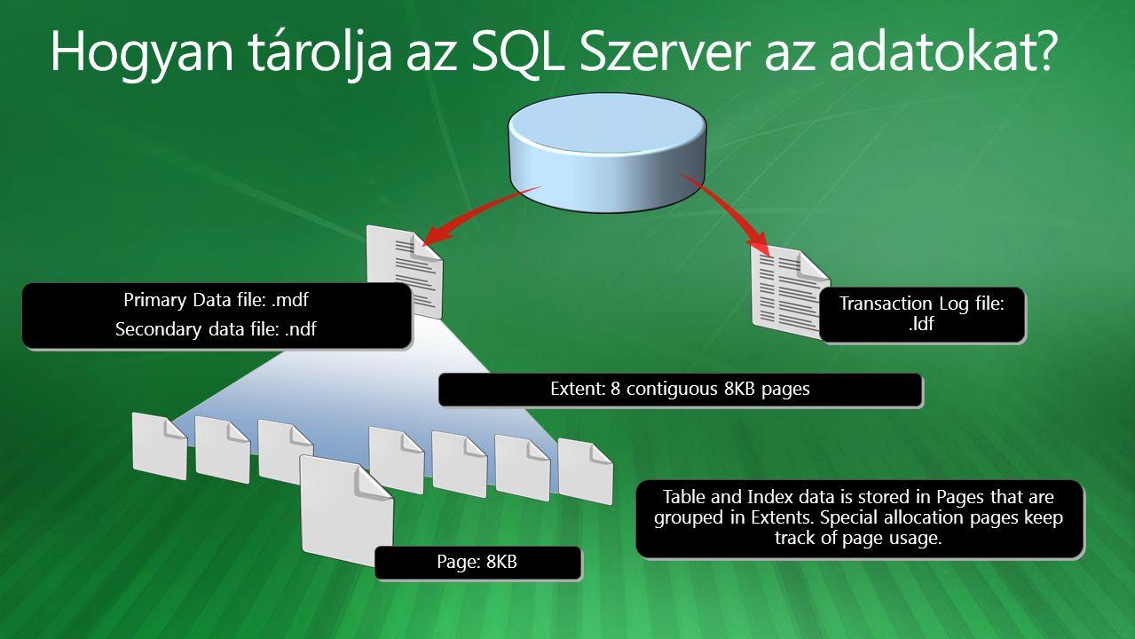 • GUI segítségével • CREATE DATABASE T-SQL paranccsal • Collation meghatározás nem kötelező CREATE DATABASE Elso ON ( NAME = Elso_dat, FILENAME = 'C:\Data\Elso.mdf , SIZE = 100MB, MAXSIZE = 500MB, FILEGROWTH = 20% ) LOG ON ( NAME = Elso_log, FILENAME = 'D:\Logs\Elso.ldf , SIZE = 20MB, MAXSIZE = UNLIMITED, FILEGROWTH = 10MB ); CREATE DATABASE Elso ON ( NAME = Elso_dat, FILENAME = 'C:\Data\Elso.mdf , SIZE = 100MB, MAXSIZE = 500MB, FILEGROWTH = 20% ) LOG ON ( NAME = Elso_log, FILENAME = 'D:\Logs\Elso.ldf , SIZE = 20MB, MAXSIZE = UNLIMITED, FILEGROWTH = 10MB );