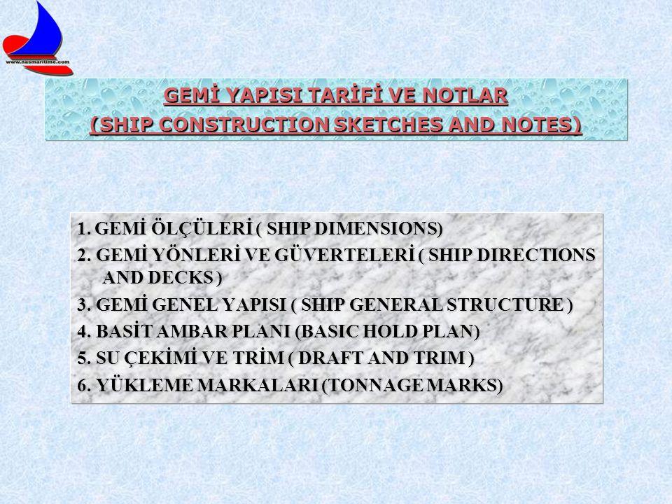 GEMİ YAPISI TARİFİ VE NOTLAR (SHIP CONSTRUCTION SKETCHES AND NOTES) 1. GEMİ ÖLÇÜLERİ ( SHIP DIMENSIONS) 2. GEMİ YÖNLERİ VE GÜVERTELERİ ( SHIP DIRECTIO