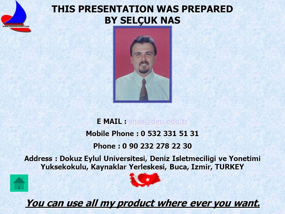 THIS PRESENTATION WAS PREPARED BY SELÇUK NAS E MAIL : snas@deu.edu.tr snas@deu.edu.tr Mobile Phone : 0 532 331 51 31 Phone : 0 90 232 278 22 30 Addres