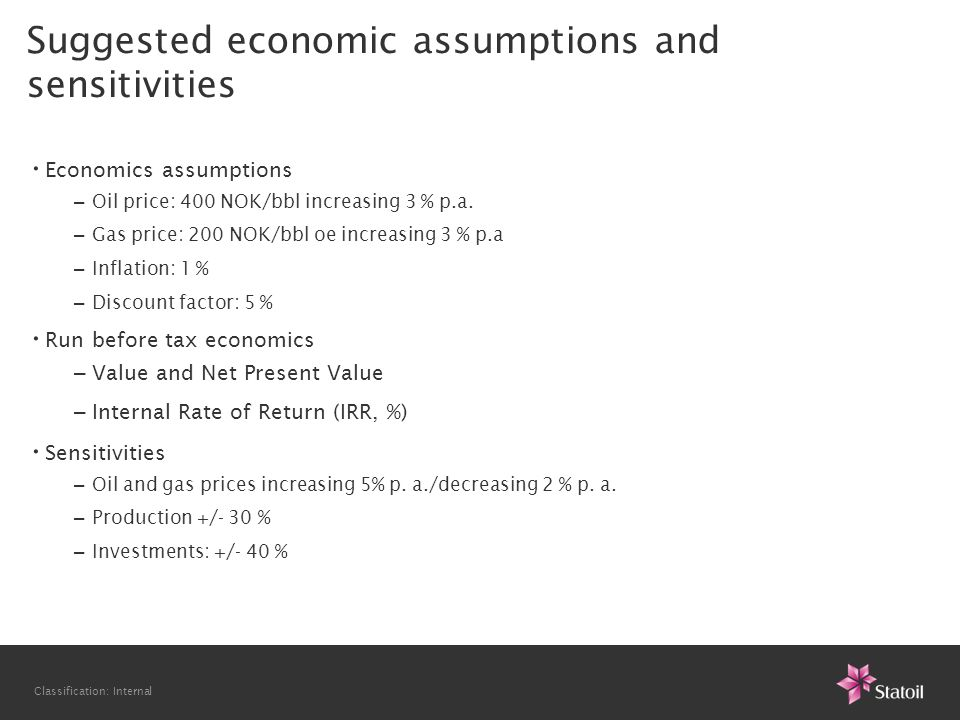 Classification: Internal Suggested economic assumptions and sensitivities • Economics assumptions – Oil price: 400 NOK/bbl increasing 3 % p.a.