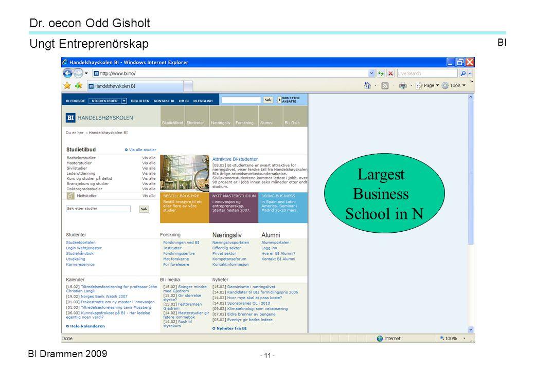 BI Drammen 2009 Ungt Entreprenörskap Dr. oecon Odd Gisholt - 11 - BI Largest Business School in N