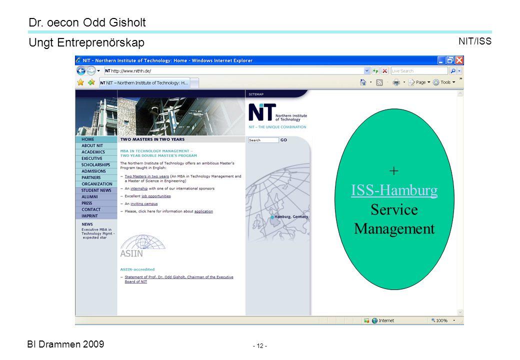 BI Drammen 2009 Ungt Entreprenörskap Dr. oecon Odd Gisholt - 12 - NIT/ISS + ISS-Hamburg Service Management