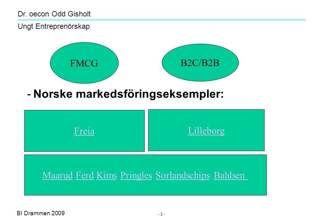 BI Drammen 2009 Ungt Entreprenörskap Dr. oecon Odd Gisholt - 2 - -Norske markedsföringseksempler: Freia Lilleborg MaarudMaarud Ferd Kims Pringles Sorl