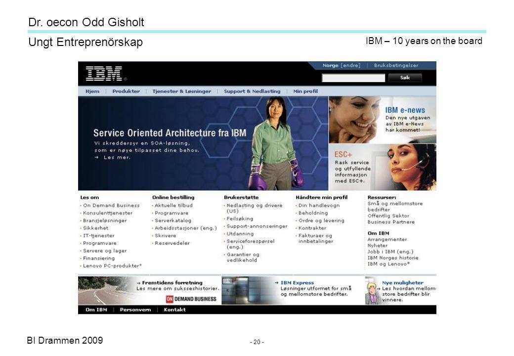 BI Drammen 2009 Ungt Entreprenörskap Dr. oecon Odd Gisholt - 20 - IBM – 10 years on the board