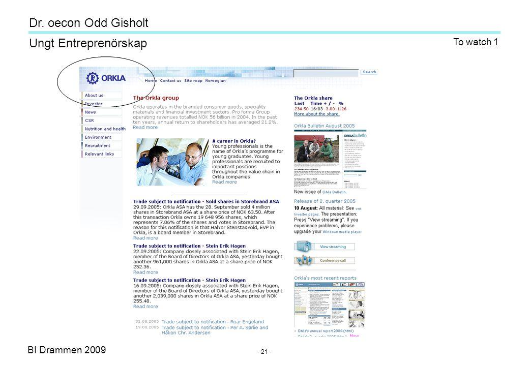 BI Drammen 2009 Ungt Entreprenörskap Dr. oecon Odd Gisholt - 21 - To watch 1